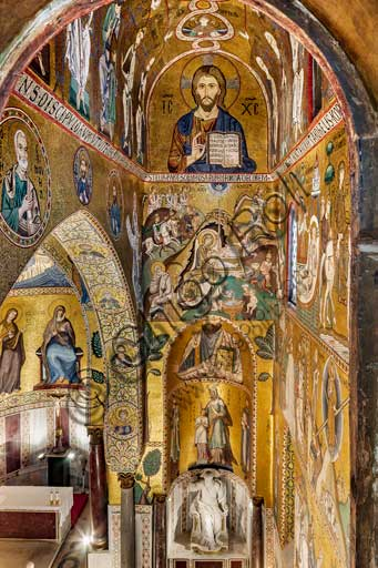 "Palermo, The Royal Palace or Palazzo dei Normanni (Palace of the Normans), The Palatine Chapel (Basilica), Southern apse or St. Paul's ""absidiola"", mosaics: from the top ""Christ Pantocrator"", ""Nativity"" and ""St.Paul"", XII century."