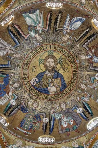 "Palermo, The Royal Palace or Palazzo dei Normanni (Palace of the Normans), The Palatine Chapel (Basilica), dome of the transept: mosaic ""Blessing Christ Pantocrator between angels and archangels"", XII century."