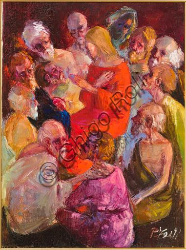 """Pierluigi Testi (1932-1993), """"Cristo tra gli Apostoli""""; olio su tela, cm. 80 X 60."""