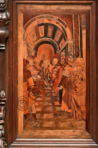 """Genova, Duomo (Cattedrale di S. Lorenzo), interno,  presbiterio, abside, coro, lato sud: """"Cristo tra i dottorii"""", tarsia lignea di Gian Michele De' Pantaleoni (secolo XVI)."""