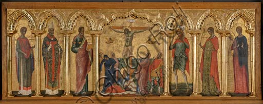 Croatia, Rab (Arbe), Museum of the Cathedral: Paolo Veneziano, Polyptych of the Crucifixion (1350-55) with Saints. From left to Right: St. Stratonicus, St. Hermolaus, St. Matthew, St. Cristopher, St. Thecla and St. Abundius.