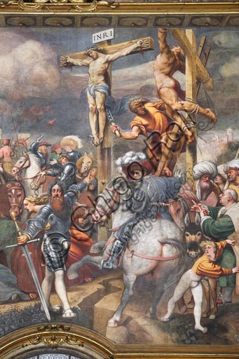 "Cremona, Duomo (the Cathedral of Santa Maria Assunta), interior, counterfaçade: detail of  ""Crucifixion"", fresco by Pordenone (Giovanni Antonio de' Sacchis), 1521."