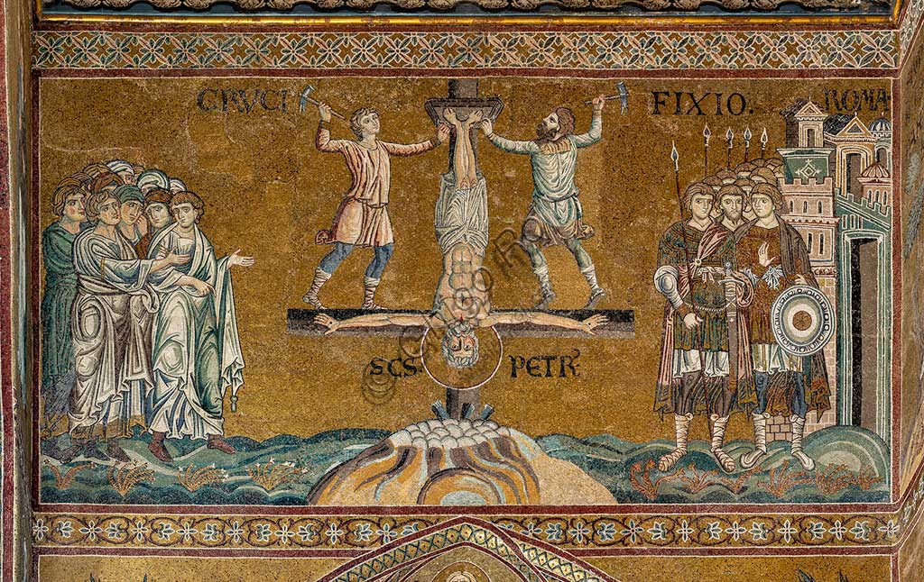 "Monreale, Duomo: ""St. Peter's crucifixion in Rome"", Byzantine mosaic, XII - XIII centuries in  the Southern transept."
