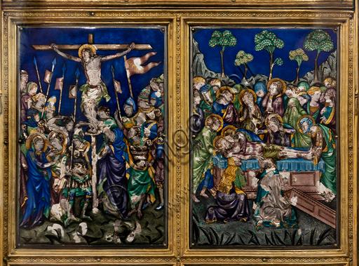 Orvieto, MODO (Museo dell'Opera del Duomo di Orvieto), Libreria Alberi: il Reliquiario del Corporale, un capolavoro di oreficeria realizzato intorno al 1330 in oro, argento e smalto traslucido da Ugolino di Vieri per contenere la principale reliquia di un  famoso miracolo di Bolsena avvenuto nel 1263. Particolare con la Crocifissione e la Deposizione.