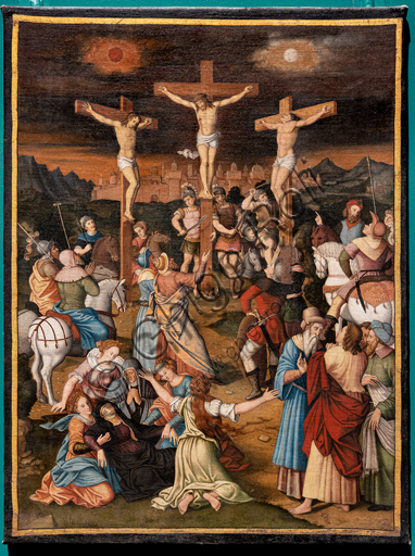 """Perugia, National Gallery of Umbria: """"Crucifixion """", by unknown artist, half XVI century. Oil painting on canvas"""