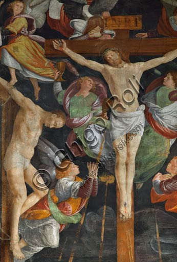 "Vercelli, Church of St. Christopher, Chapel of the Magdalene: detail of ""Crucifixion."" Fresco by Gaudenzio Ferrari, 1529 - 1534."