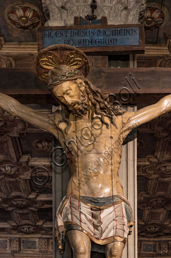 Crucifix in polychrome wood, XV century. Detail.