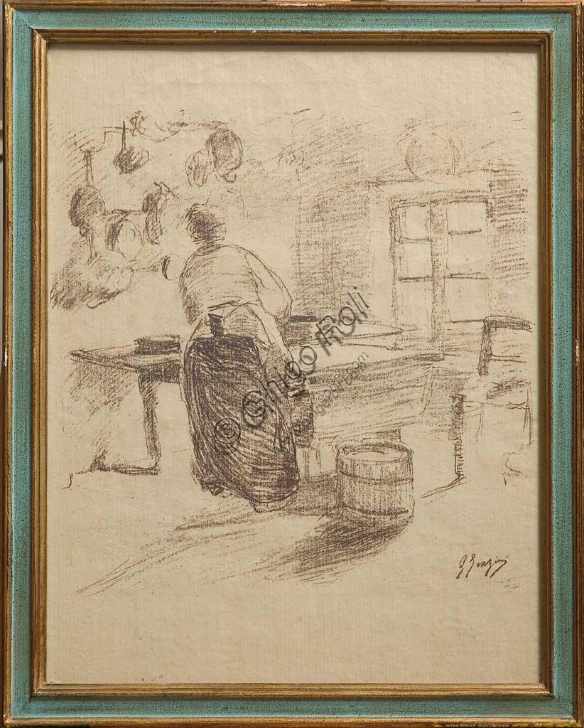 """Collezione Assicoop - Unipol: Giuseppe Graziosi (1879-1942), """"In cucina"""", litografia su carta."""