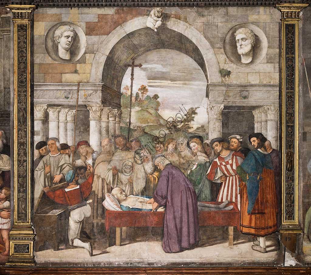 """Padova, Basilica di Sant'Antonio o del Santo, Scuola del Santo, Salone, parete nord:  """"Il cuore dell'avaro nello scrigno"""", di Francesco Vecellio, 1512"""