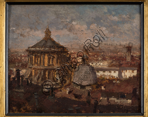 "Assicoop - Unipol Collection: Giuseppe Mentessi (1857 - 1931), ""The Domes of St. Sebastian Church in Milano"", oil painting, cm 24 X 31."