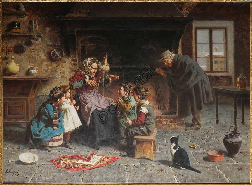 """Collezione Assicoop - Unipol: """"Dalla nonna"""", di Eugenio Zampighi (1859 - 1944), olio su tela."""