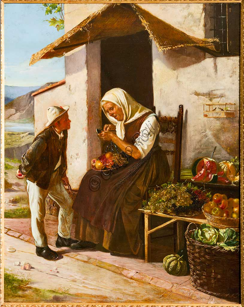 "Assicoop - Unipol Collection: Narciso Malatesta (1835 - 1896), ""At the Greengrocer's"". Oil Painting, cm 101 x 80,5."