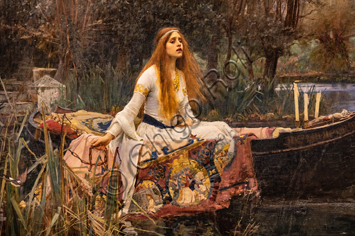 """The Lady of Shalott"", 1888 by  John William Waterhouse  (1849 - 1917); oil painting on canvas. The subject is based on the poem by Alfred Tennyson of the same name. Detail."