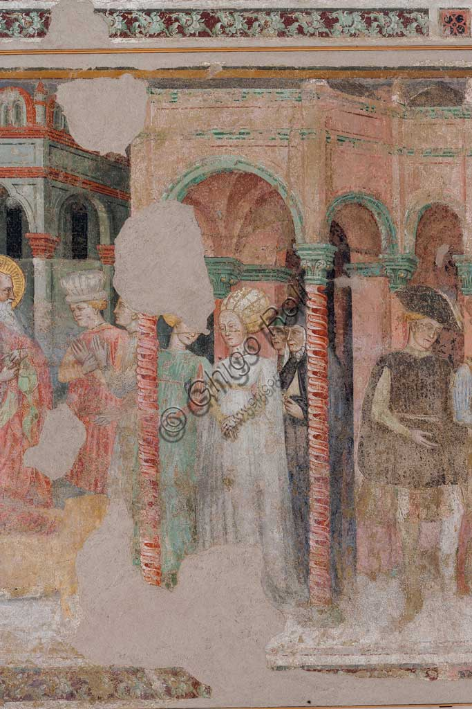 Ferrara, Pinacoteca Nazionale: fresco detached from the Church of San Domenico on the subject of the Stories of St. John the evangelist, by Maestro G.Z. (Michele dai Carri?), 15th century. Detail with gentlewoman.