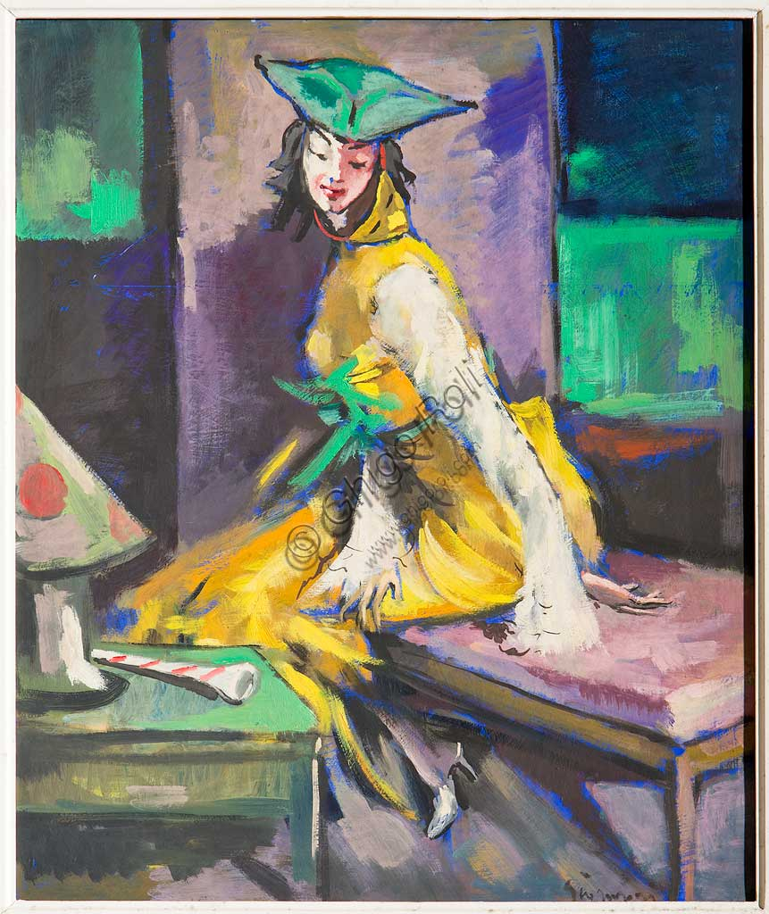 "Assicoop - Unipol Collection: Giovanni Guerzoni (1876-1948), ""Masked Woman"". Olio su tela, cm 60 x 50."