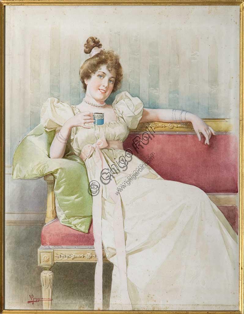 "Assicoop - Unipol Collection: Vittorio Reggianini (1858 - 1938): ""Lady on the sofa"", watercolor on paper, cm. 49 x 39."