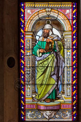 Genova, Duomo (Cattedrale di S. Lorenzo), Cappella di San Giovanni Battista: vetrate di Pompeo Bertini, 1870.Particolare con Daniele.