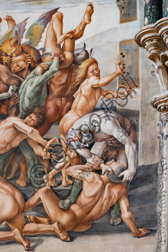 """Orvieto,  Basilica Cathedral of Santa Maria Assunta (or Duomo), the interior, Chapel Nova or St. Brizio Chapel, the lunette of the east wall: """"Damned to hell"""", fresco by Luca Signorelli, (1500 - 1502). Detail."""