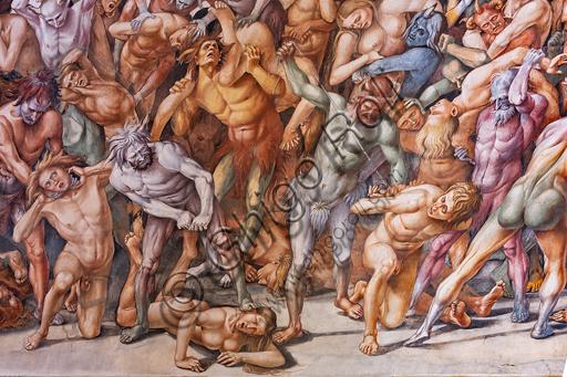 """Orvieto, Basilica Cattedrale di Santa Maria Assunta (o Duomo), interno, Cappella Nova o di San Brizio, lunetta della parete est: """"Dannati all'inferno"""", affresco di Luca Signorelli, (1500 - 1502). Particolare dove si intravvede una donna formosa  sollevata contro la sua volontà da un demone blu con un corno in fronte: si tratta di un autoritratto del Signorelli, evidentemente alludendo a una storia """"privata"""" sicuramente nota all'epoca con la donna bionda, che forse gli fu infedele."""