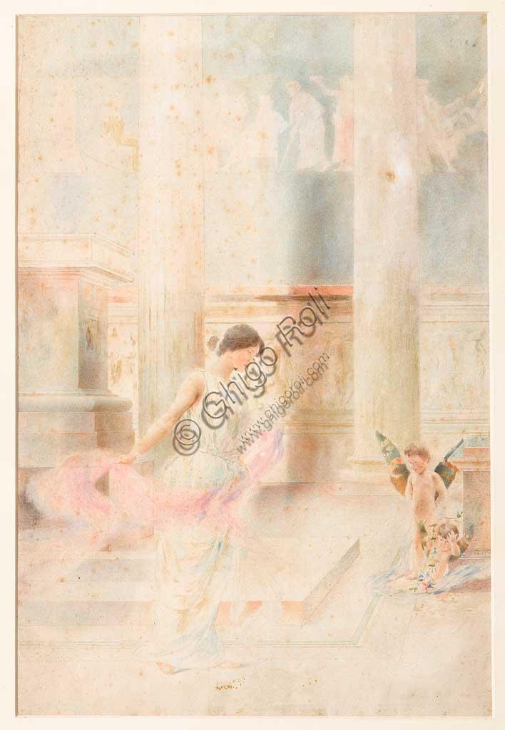 """Assicoop - Unipol Collection: Giovanni Muzzioli (1854-1894), """"Nuptial Dance"""". Watercolour, cm. 47x37."""