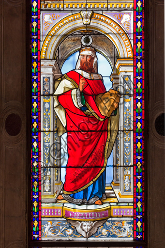 Genova, Duomo (Cattedrale di S. Lorenzo), Cappella di San Giovanni Battista: vetrate di Pompeo Bertini, 1870.Particolare con Re David.