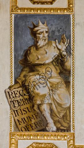 """Genova, Duomo (Cattedrale di S. Lorenzo), interno, Cappella Lercari o del Santissimo Sacramento (abside settentrionale), volta: """"Re David"""", affresco di Giovanni Battista Castello detto il Bergamasco, 1564-7."""