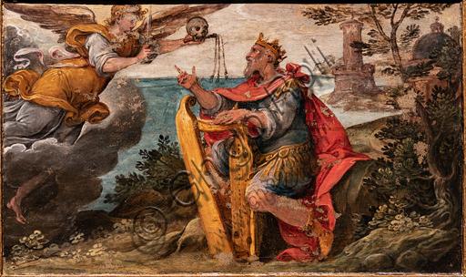 """Perugia, Galleria Nazionale dell'Umbria: """"Re David penitente di fronte all'angelo flagellatore"""", di Cesare Nebbia, 1590 - 60, dipinto su tavola."""