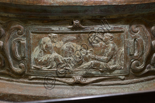 """Florence, Museum of the Opera del Duomo (Museum of Florence Cathedral of Santa Maria del Fiore): bronze group of """"The Beheading of the Baptist"""" (coming from the east side of the Baptistery) by  Vincenzo Danti (1569-70). From the South Side of the Baptistery. Detail of the base."""