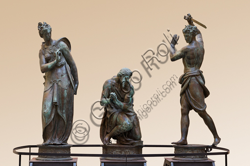 """Florence, Museum of the Opera del Duomo (Museum of Florence Cathedral of Santa Maria del Fiore): bronze group of """"The Beheading of the Baptist"""" (coming from the east side of the Baptistery) by  Vincenzo Danti (1569-70). From the South Side of the Baptistery."""
