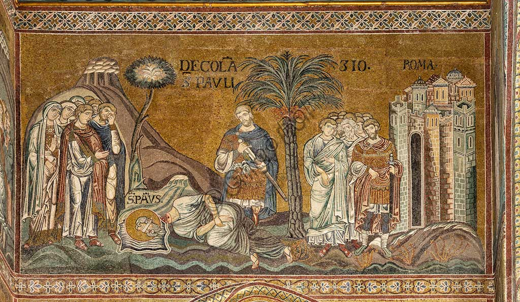 "Monreale, Duomo: ""St. Paul's beheading in Rome"", Byzantine mosaic, XII - XIII centuries in  the Northern transept.Latin inscription: ""Decollatio Sancti Pauli""."