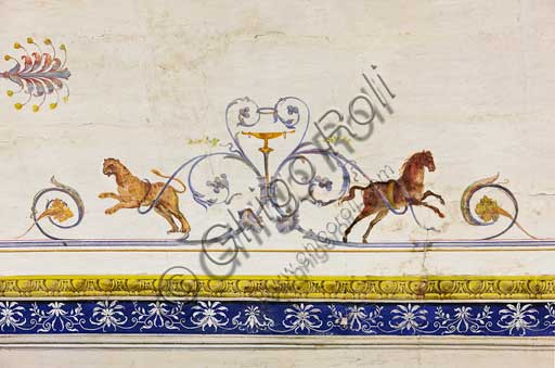Palermo, The Royal Palace or Palazzo dei Normanni (Palace of the Normans), The Royal Apartment, The Red Room: detail of the decoration depicting a tiger and a horse.