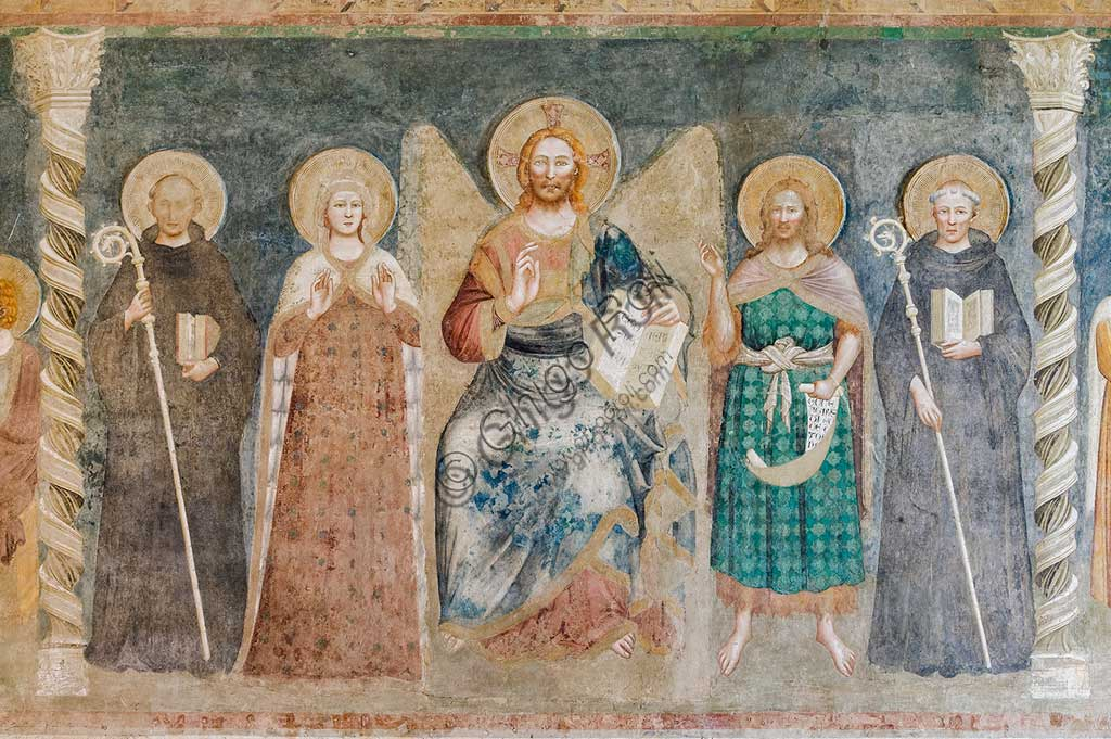"Codigoro, Pomposa Abbey, Refectory: fourteenth-century frescoes attributed to the painter of the Rimini school, Maestro di Tolentino: ""Deesis"", ie Christ among the Virgin, Saint John, Saint Benedict, Saint Guido."