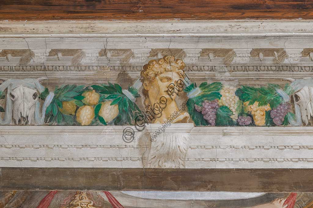 Thiene, Villa Porto Colleoni (also known as Castle in Thiene), Camerone: detail of the frescoes by Giovanni Antonio Fasolo (c. 1560-1565). Detail.