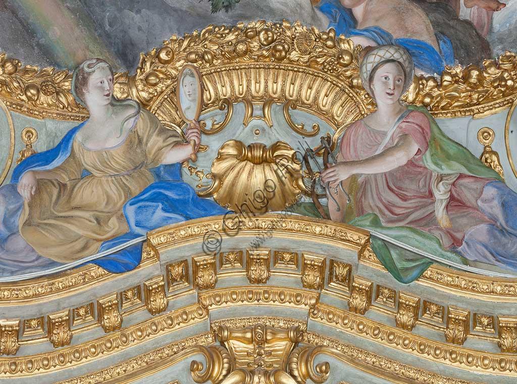 Genova, Palazzo Carrega-Cataldi (già Palazzo Tobia Pallavicini): la Galleria, con affreschi rococò di Lorenzo De Ferrari (1740-44).  Particolare degli stucchi con due figure femminili (la Prudenza e...?).Patrimonio mondiale dell'Umanità UNESCO.