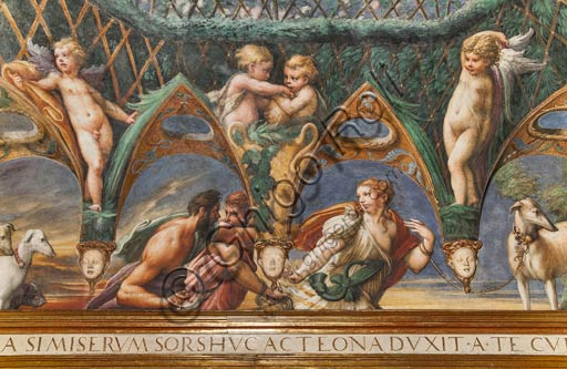 Parma, Fontanellato, Rocca Sanvitale, room of Diana and Actaeon: detail of the ceiling with the cycle of frescoes by Parmigianino (Girolamo Francesco Maria Mazzola) depicting the myth of Diana and Actaeon, taken from Ovid's Metamorphoses. The room, frescoed in 1524, probably was the bathroom of Paola Gonzaga, wife of Galeazzo Sanvitale. Detail of the south side, with Actaeon and two hunting companions.