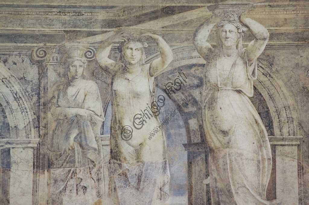 Voghiera, Delizia di Belriguardo, una delle 19 prestigiose residenze, (chiamate delizie) degli Este, Sala delle Vigne: particolare del ciclo di affreschi ,  opera di Girolamo da Carpi, con aiuti di Dosso Dossi e Benvenuto Tisi da Garofalo, 1537. Particolare della decorazione con cariatidi.