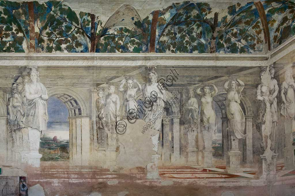Voghiera, Delizia di Belriguardo, one of the 19 prestigious residences (called Delizia) belonging to the Este, Sala delle Vigne (the Vineyard Hall): detail of the cycle of frescoes, by Girolamo da Carpi, with the collaboration of Dosso Dossi and Benvenuto Tisi da Garofalo, 1537. The subjects of the decorations are vine shoots, bunches of grapes and caryatids.