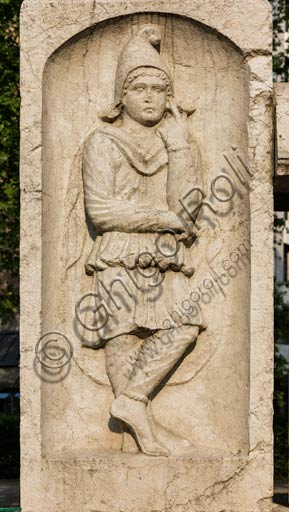 Reggio Emilia, Public Gardens or People Park, the Concordii monument (funeral monument found in Boretto. Roman art of the Imperial age, first century A. D.): detail of the stone representing the god Attis.