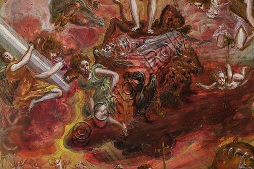 Modena, Galleria Estense: altarolo portatile di Domenico Theotokòpoulòs detto El Greco (1541-1614). Tempera grassa su tavola, cm 37 x 23,8. Particolare del comparto centrale: al centro Cristo, che regge uno stendardo bianco con la Croce alludente alla Resurrezione, incorona un cavaliere cristiano, mentre al tempo stesso calpesta le allegorie del male e della morte che poggiano sopra le raffigurazioni simboliche dei quattro Evangelisti, mentre gli angeli intorno sorreggono i simboli della Passione. In basso al centro sono raffigurate le tre Virtù teologali (Fede, Speranza, Carità), con a sinistra un gruppo di fedeli che riceve la comunione da parte di un vescovo e a destra i peccatori che vengono spinti dal mostro verso l'Inferno.