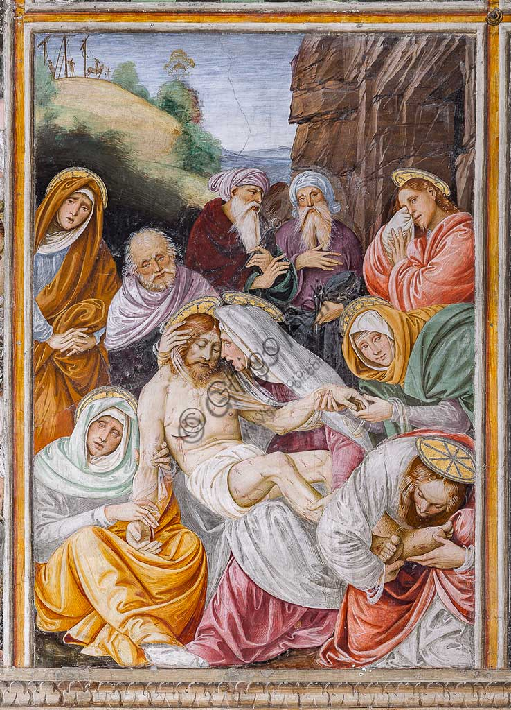 "Varallo Sesia, Church of Santa Maria delle Grazie: frescoes of the Gaudenzio Ferrari wall ""The life and the Passion of Christ"", by Gaudenzio Ferrari, 1513. Detail of ""The Virgin's Lamentation on the Dead Christ""."