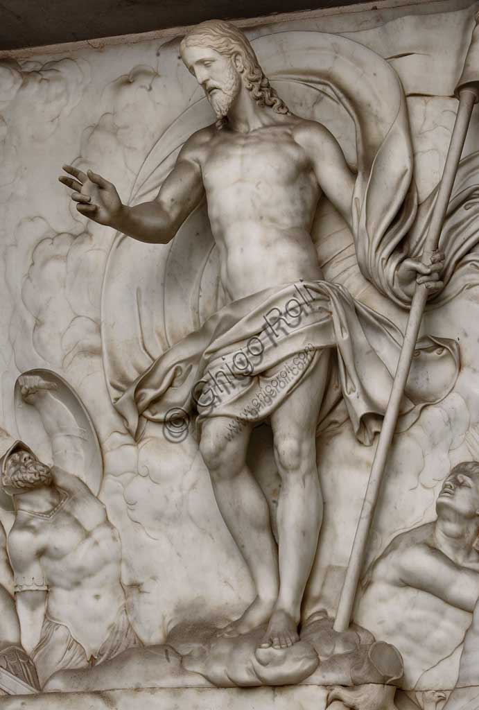 Church of Santa Croce, Mausoleum of St. Pius V: a high-relief in white marble representing  the Resurrection and Pius V in prayer. Based on a design by Giovanni Antonio Buzzi (1568-1571). Detail of resurrected Christ.