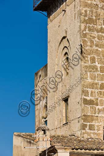 Palermo, The Royal Palace or Palazzo dei Normanni (Palace of the Normans), the Pisan Tower: detail of the West side.