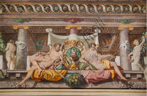 Parma, San Secondo, Rocca dei Rossi,  ceiling of the Room of Adonis. Detail of the faux porch with memorial stones of Federico Gonzaga, Duke of Mantua. Frescoes by an unknown artist, perhaps Horace Samacchini, sec. XVI.
