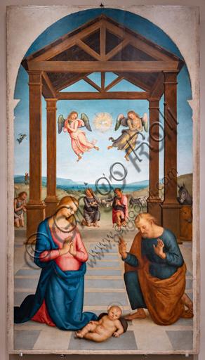Perugia, Galleria Nazionale dell'Umbria: Polittico di S. Agostino,1502 - 23, olio su tavola, di Pietro di Cristoforo Vannucci, detto il Perugino. Particolare del fronte verso il coro: Adorazione dei Pastori.