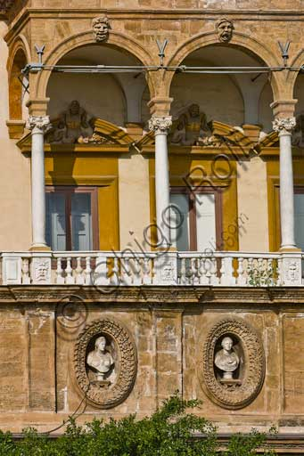 Palermo, The Royal Palace or Palazzo dei Normanni (Palace of the Normans), Porta Nuova Tower: detail of the side facing Vittorio Emanuele Avenue.