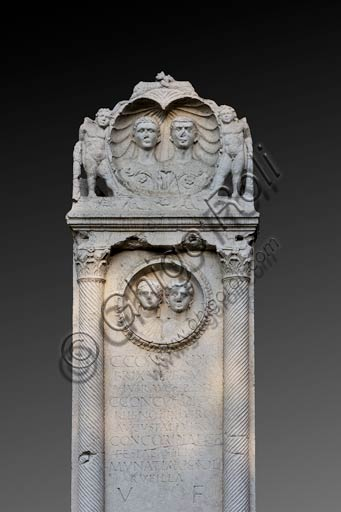 Reggio Emilia, Public Gardens or People Park: detail of the Concordii monument (funeral monument found in Boretto. Roman art of the Imperial age, first century A. D.).