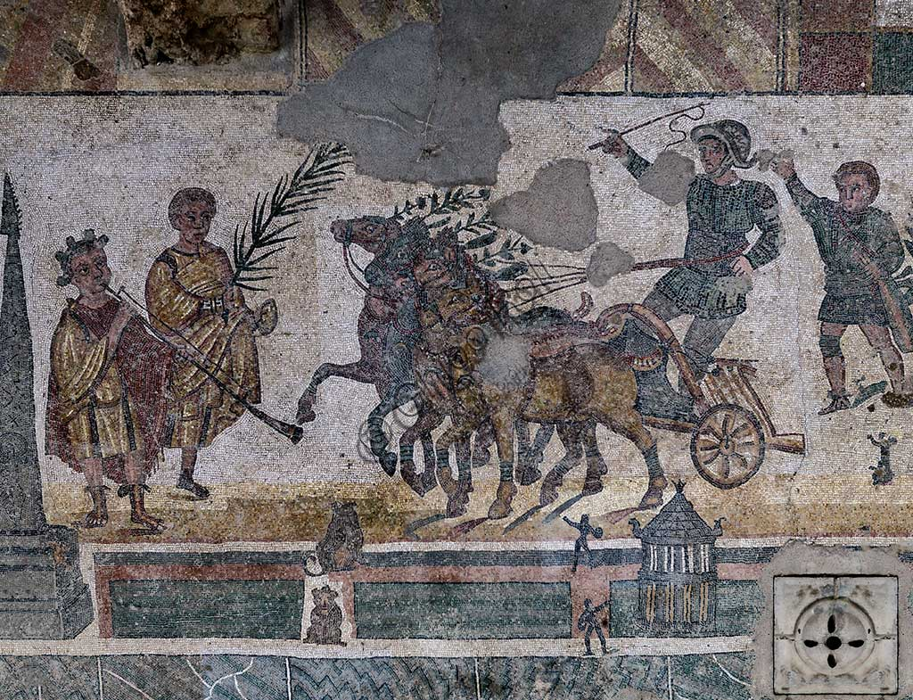 Piazza Armerina, Roman Villa of Casale, which was probably an imperial urban palace. Today it is a UNESCO World Heritage Site. Detail of the mosaic of the Circus depicting a quadriga race.