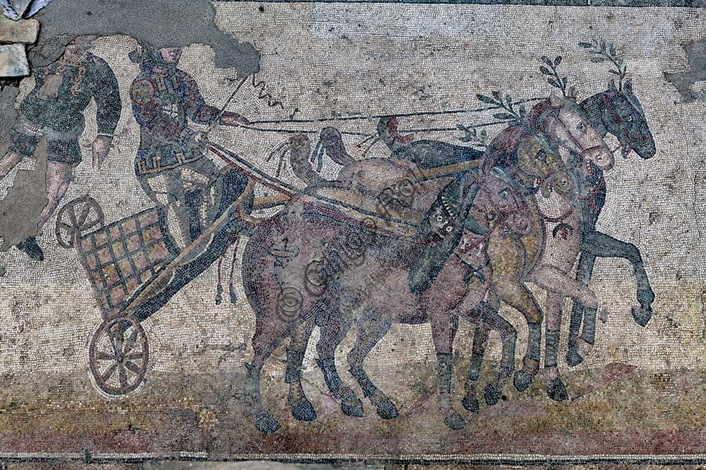 Piazza Armerina, Roman Villa of Casale, which was probably an imperial urban palace. Today it is a UNESCO World Heritage Site. Detail of the mosaic of the Circus depicting a chariot race.