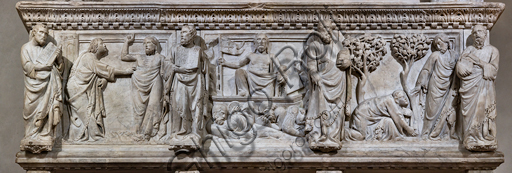"Basilica of the Holy Cross: ""Funeral Monument of Gastone della Torre, Archbishop of Milan, later Patriarch of Aquileia"", 1318-9, by Tino di Camaino, white marble. Detail of the basement relief."