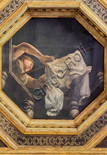 Mantua, Palazzo Te (Gonzaga's Summer residence), Camera delle Vittorie (Chamber of the Victories), painting by Agostino da Mozzanica (1528): detail of the coffered ceiling with woman hanging out a shirt.